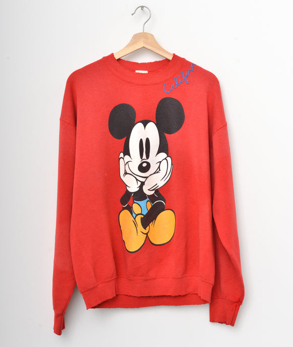 Vintage Mickey Sweatshirt -Red- Customize Your Embroidery Wording
