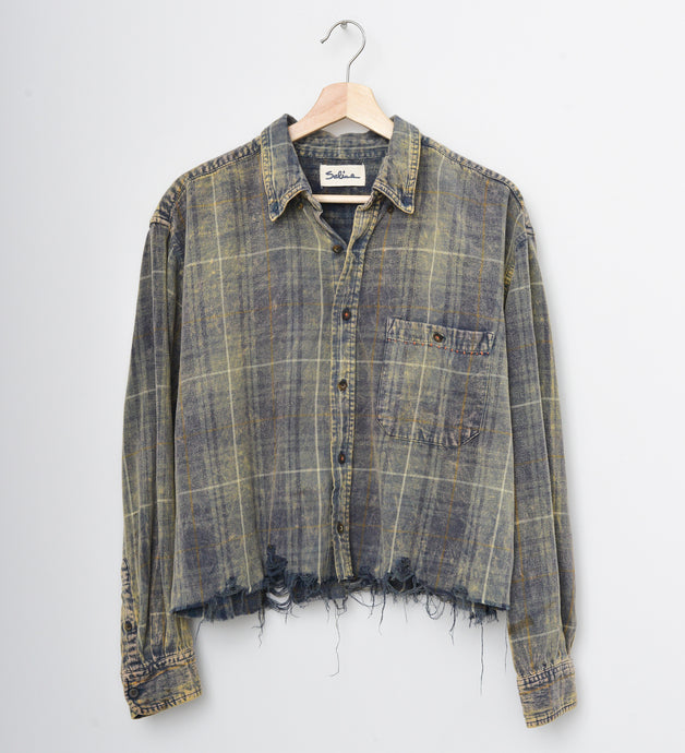 Distressed Bottom Buttondown- Gray Teal