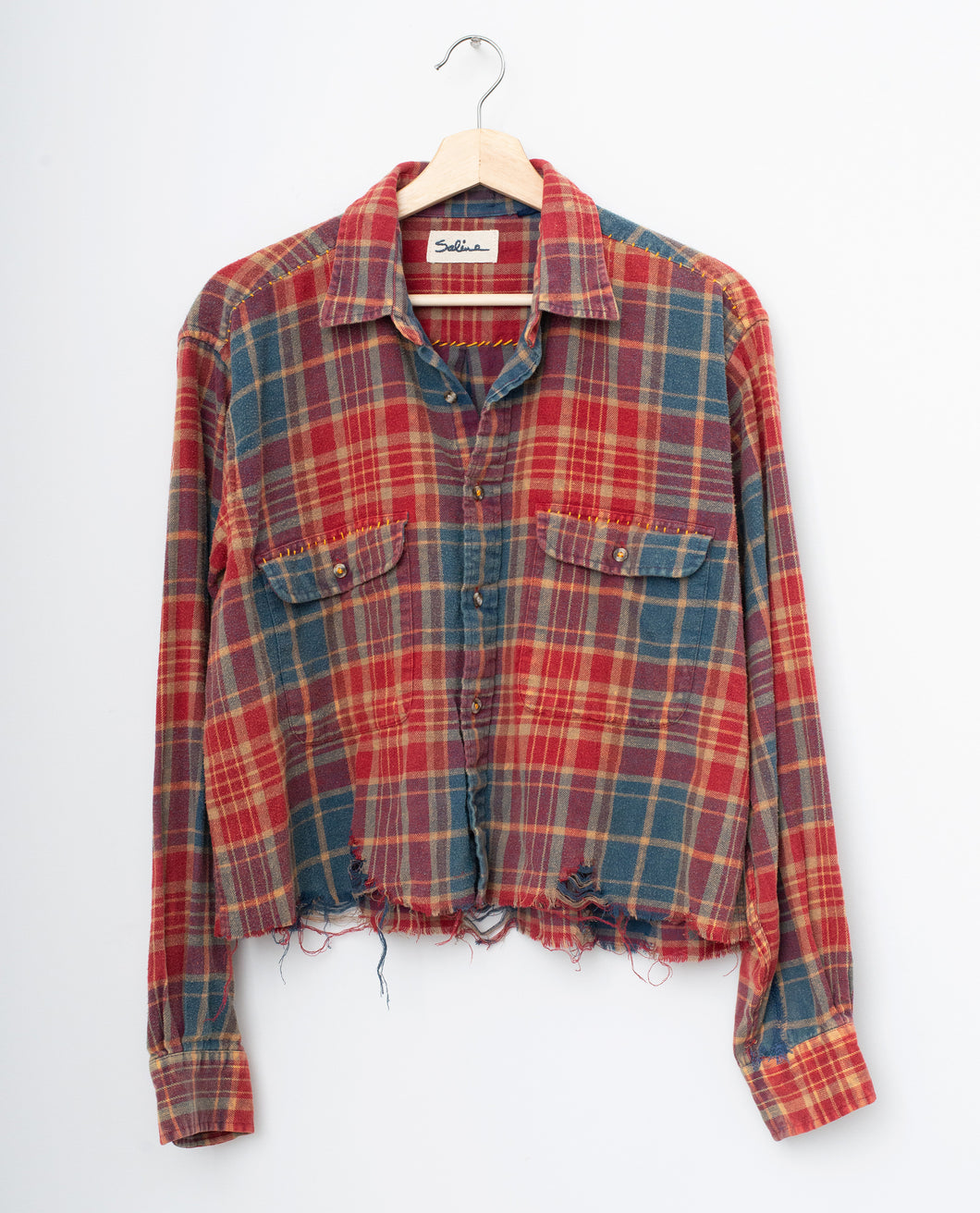 Distressed Bottom Buttondown- Red/Blue