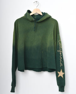 Star Patch California Cropped Hoodie - Jungle Green