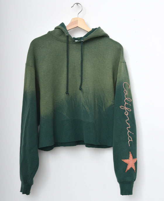 Star Patch California Cropped Hoodie - Vineyard Green