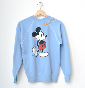 Mickey Mouse & California Embroidery Sweatshirt - Milky Blue