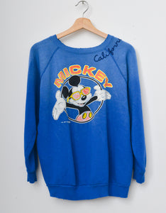 Vintage Mickey & California Embroidery Sweatshirt -Royal Blue