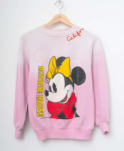 Vintage Minnie & California Embroidery Sweatshirt-Snow Pink