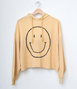 Smiley Face Hoodie- Mellow Yellow