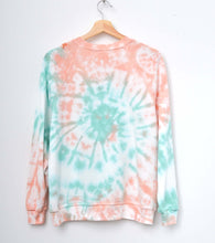 HONEYDEW SWIRL TIE DYE  L/S SWEATS WITH CUSTOM HAND EMBROIDERY