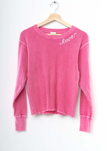 PINK  L/S THERMAL TEE  WITH CUSTOM HAND EMBROIDERY