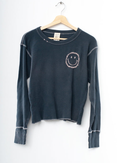 Smiley Face Thermal Tee L/S-Washed Black