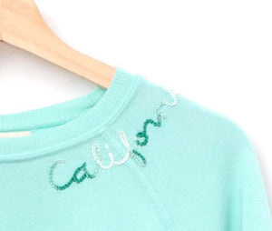 PASTEL AQUA SKY L/S SWEATS WITH CUSTOM HAND EMBROIDERY