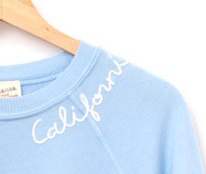 PASTEL COOL BLUE L/S SWEATS WITH CUSTOM HAND EMBROIDERY