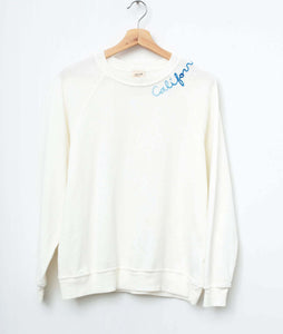 California Blue Ombre Embroidery Sweatshirt - Off White