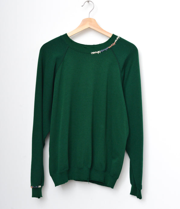 Ombre Stitched Sweatshirt- Hunter Green