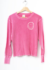 Smiley Face Thermal Tee L/S-Pink