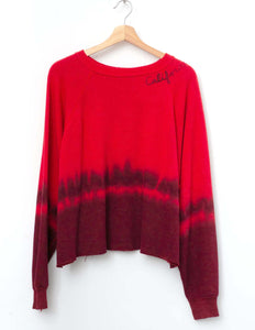 cropped tie dye -Red One Size