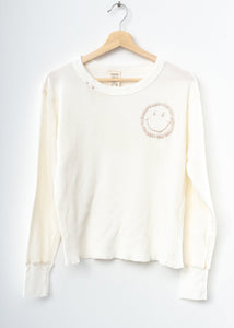 Smiley Face Thermal Tee L/S-Off White