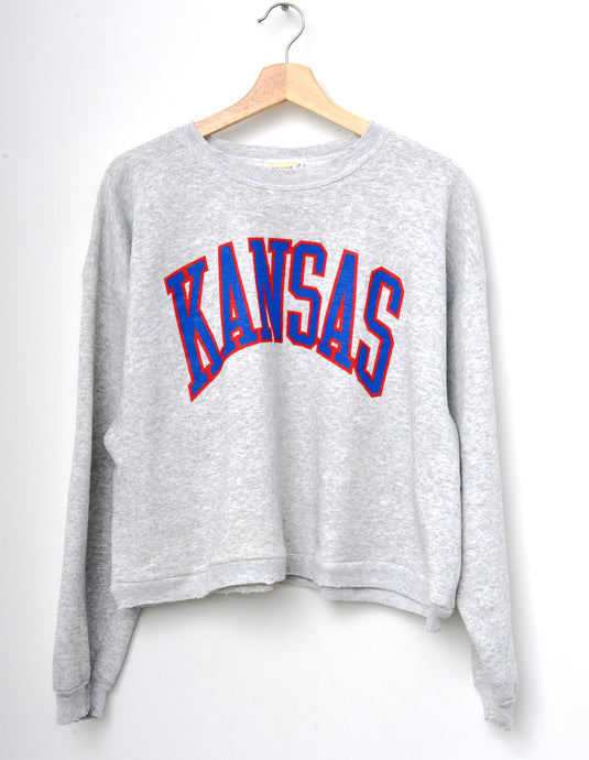 Kansas Cropped Sweatshirt -H.Grey