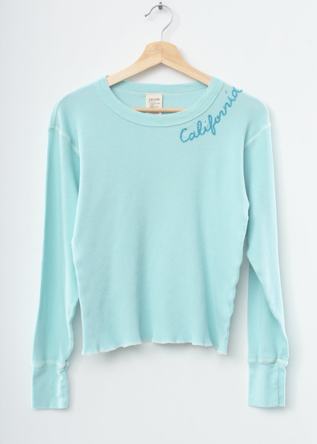 PASTEL BLUE  L/S THERMAL TEE  WITH CUSTOM HAND EMBROIDERY