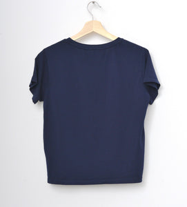 NAVY S/S TEE WITH CUSTOM HAND EMBROIDERY