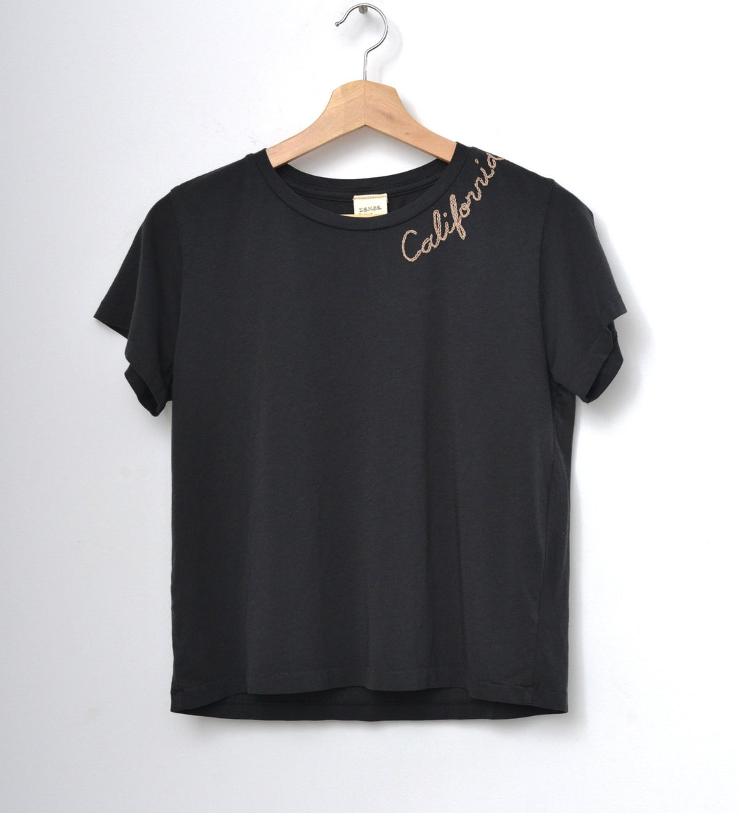 VINTAGE BLACK S/S TEE WITH CUSTOM HAND EMBROIDERY