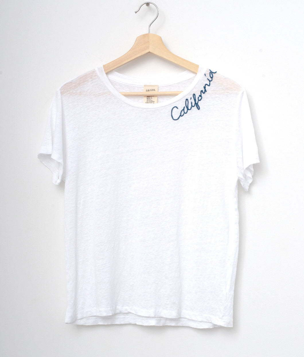 WHITE S/S TEE WITH CUSTOM HAND EMBROIDERY