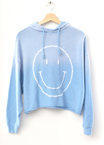 Smiley Face Hoodie- Frost Blue