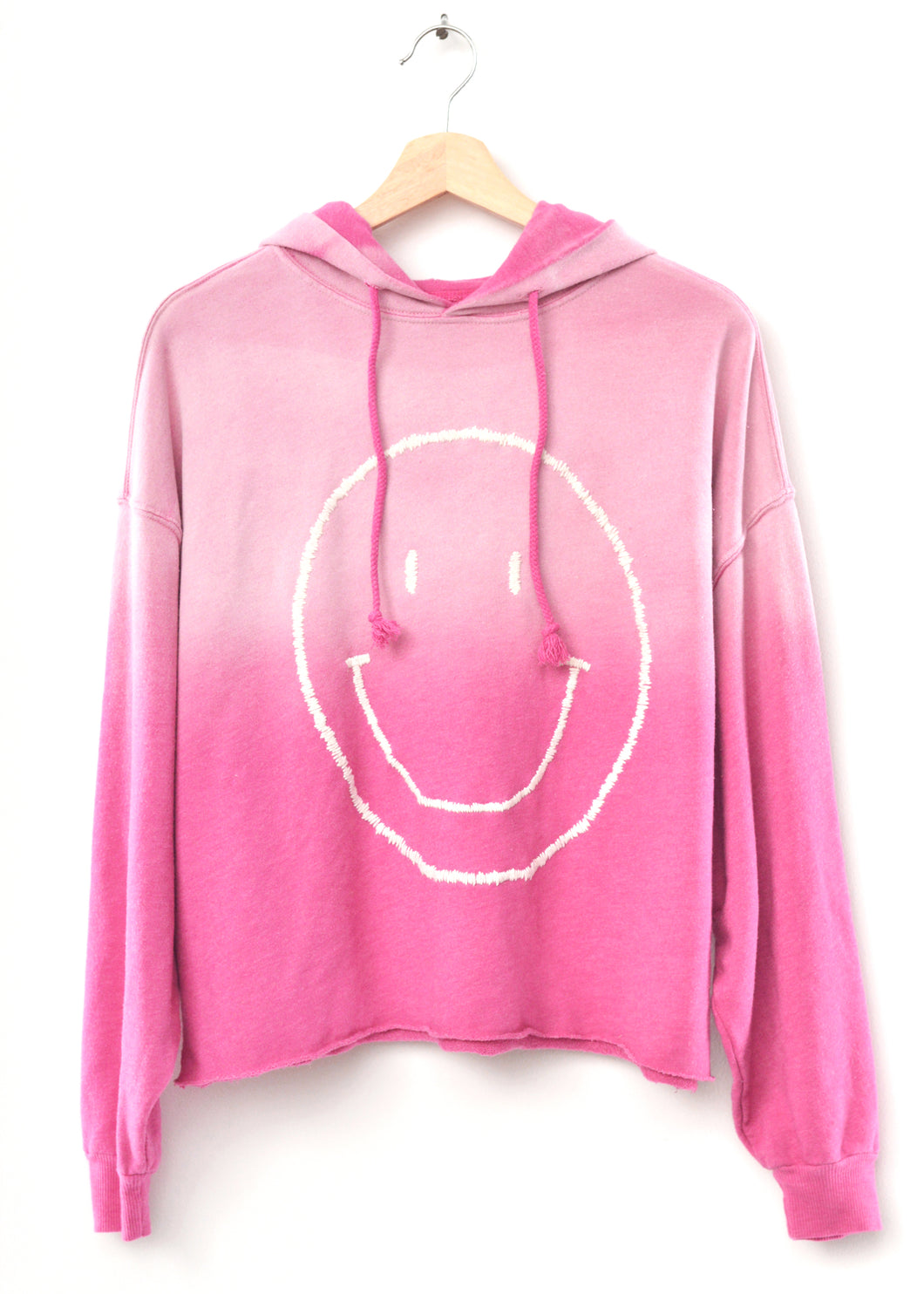 Smiley Face Hoodie- Frost Pink