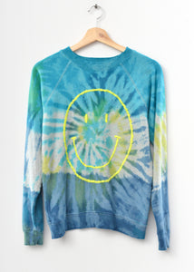 Prismatic Big Smiley Face Sweatshirt - Blue