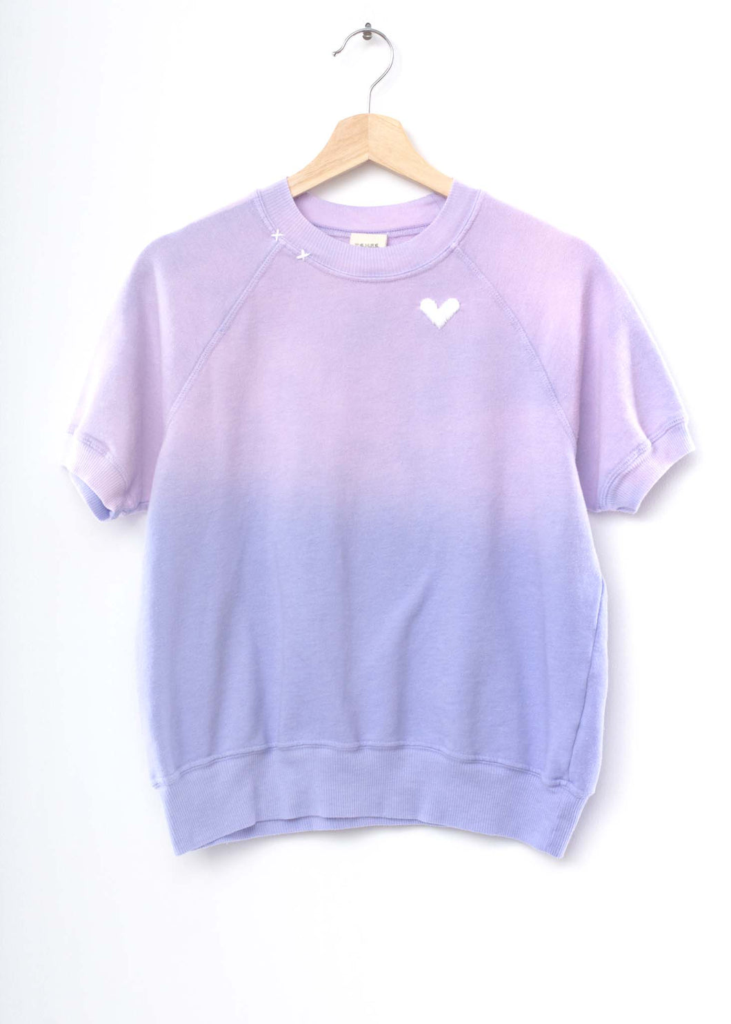Heart Shorty Sweatshirt- Pastel Lavender