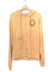 Smiley Face Hoodie Zip-up - Mellow Yellow