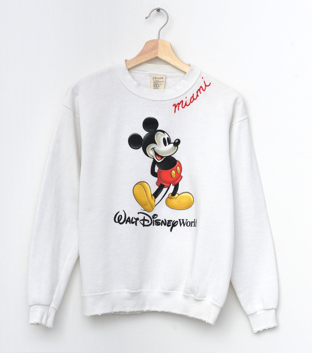 Vintage Mickey & Miami Embroidery Sweatshirt - White