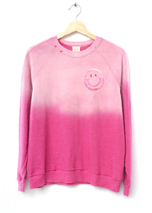 Smiley Face Sweatshirt- Frost Pink