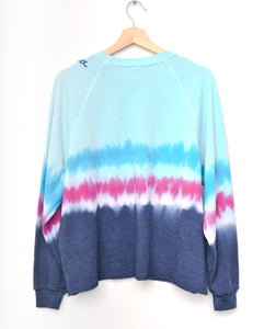 "Festival Tie Dyed ""California"" Cropped Sweatshirt - Blue"