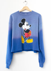 Vintage Mickey Cropped Sweatshirt -Frost Blue- Customize Your Embroidery Wording