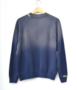 Rainbow Ombre Stitching Sweatshirt -Washed Navy