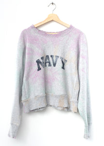 Navy Tie Dyed Cropped Sweatshirt