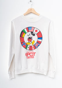 Vintage Mickey Sweatshirt -Vintage White- Customize Your Embroidery Wording