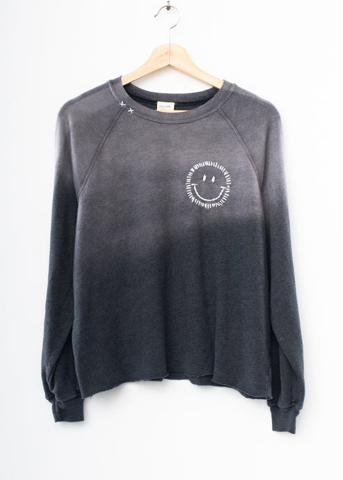 Happy Face Cropped Sweatshirt - Frost Charcoal