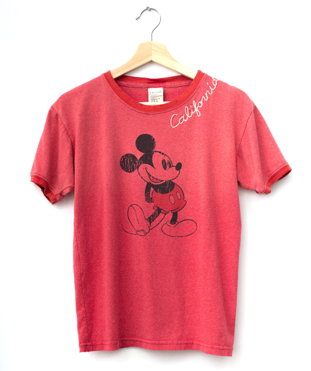 Vintage Mickey & California Embroidery Tee - Vintage Red