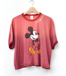 Vintage Mickey & California Embroidery Tee - Garnet