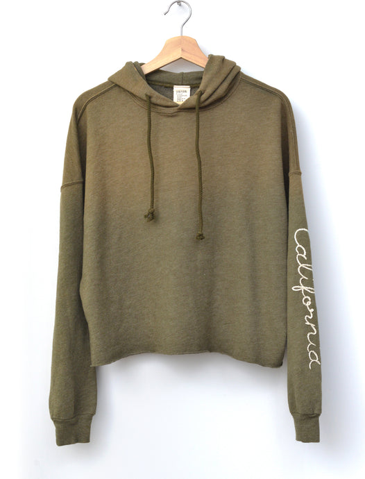 Sierra Hoodie with California Embroidery- Army Green
