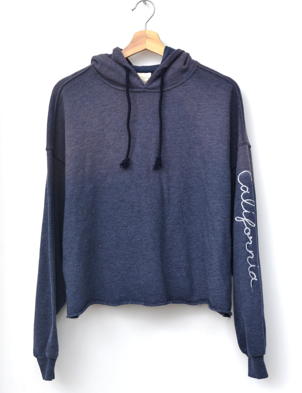 NAVY L/S HOODIE WITH CUSTOM HAND EMBROIDERY ON SLEEVE