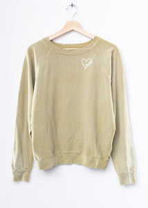 Love Heart Sweatshirt - Olive
