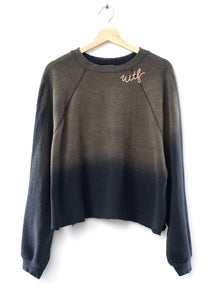 "Vintage ""WTF"" Cropped Sweatshirt-Smoky Black"