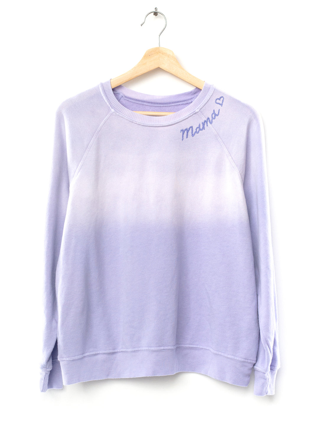 PASTEL SNOW LAVENDER SWEATS WITH CUSTOM HAND EMBROIDERY