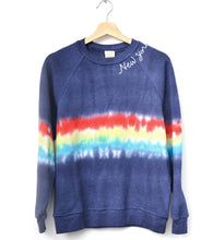 FESTIVAL TIE DYE NAVY L/S SWEATS WITH CUSTOM HAND EMBROIDERY