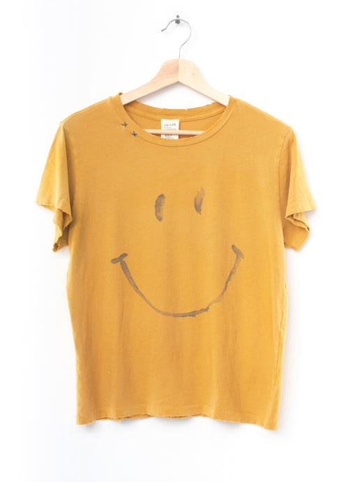 Smiley Face  Tee- Mustard Yellow
