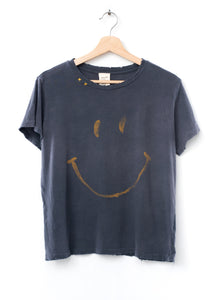 Smiley Face  Tee- Washed Black