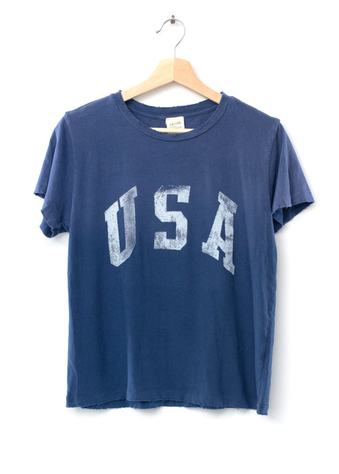 USA Tee- Washed Navy