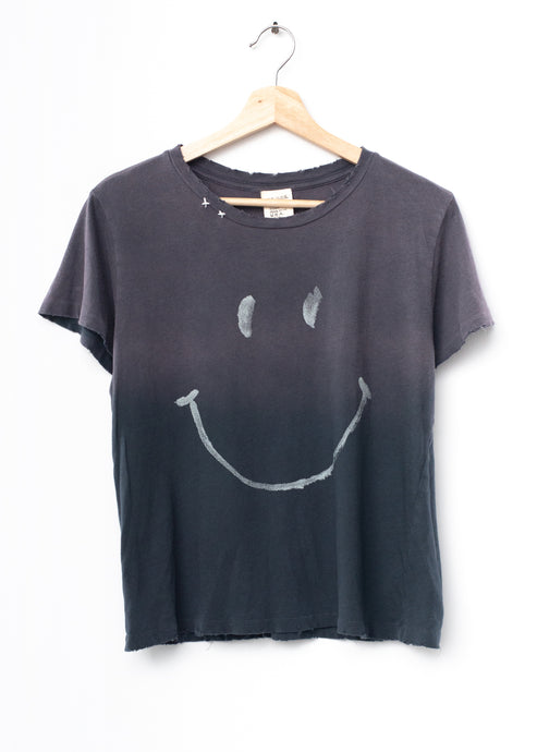 Smiley Face  Tee- Frost Black