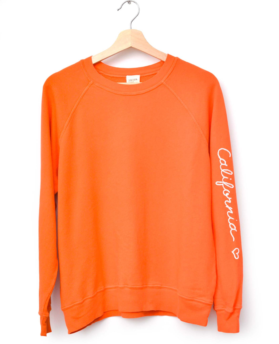 NEON ORANGE L/S SWEATS WITH CUSTOM HAND EMBROIDERY ON SLEEVE